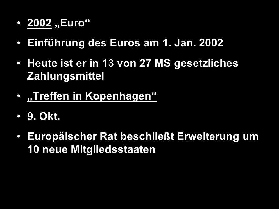 """2002 """"Euro Einführung des Euros am 1. Jan. 2002. Heute ist er in 13 von 27 MS gesetzliches Zahlungsmittel."""