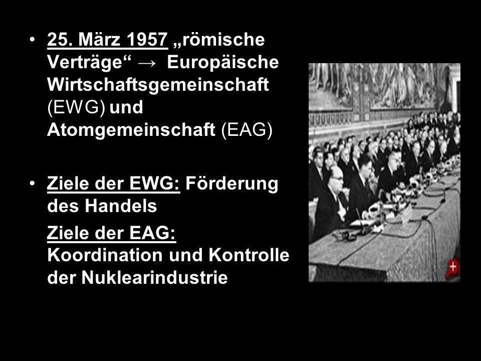 """25. März 1957 """"römische Verträge → Europäische Wirtschaftsgemeinschaft (EWG) und Atomgemeinschaft (EAG)"""