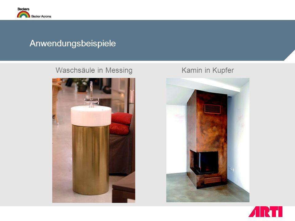 Anwendungsbeispiele Waschsäule in Messing Kamin in Kupfer