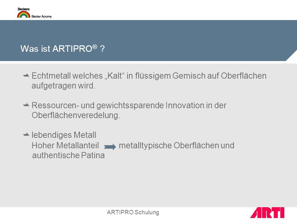 """Was ist ARTIPRO® Echtmetall welches """"Kalt in flüssigem Gemisch auf Oberflächen aufgetragen wird."""