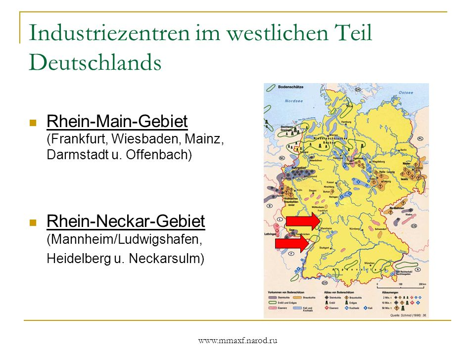 Industriezentren im westlichen Teil Deutschlands