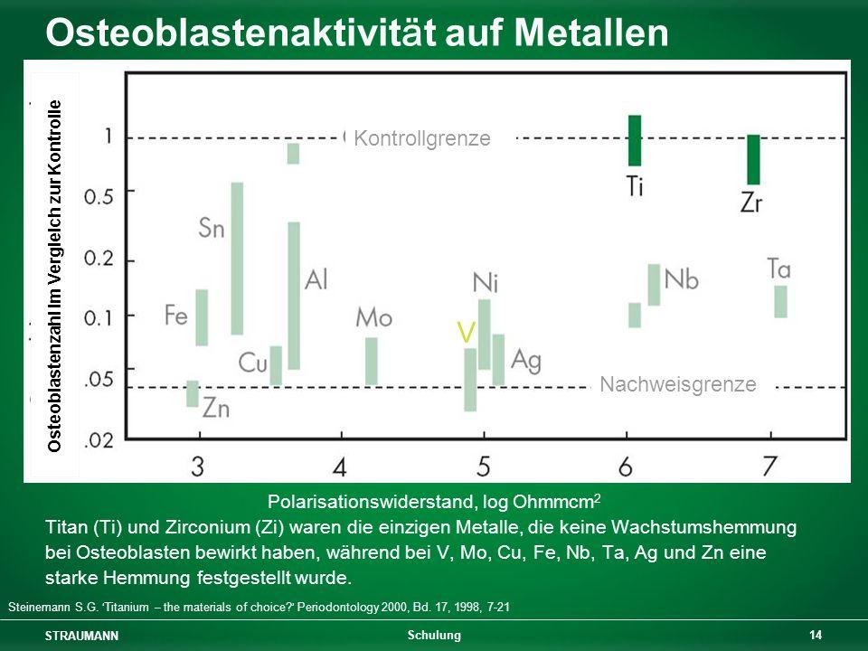 Osteoblastenaktivität auf Metallen