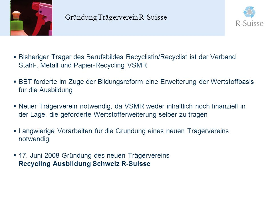 Gründung Trägerverein R-Suisse