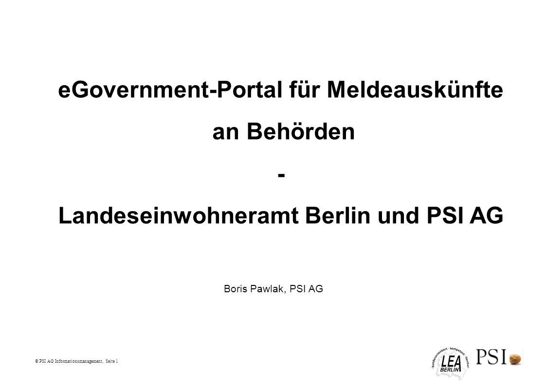 eGovernment-Portal für Meldeauskünfte an Behörden -