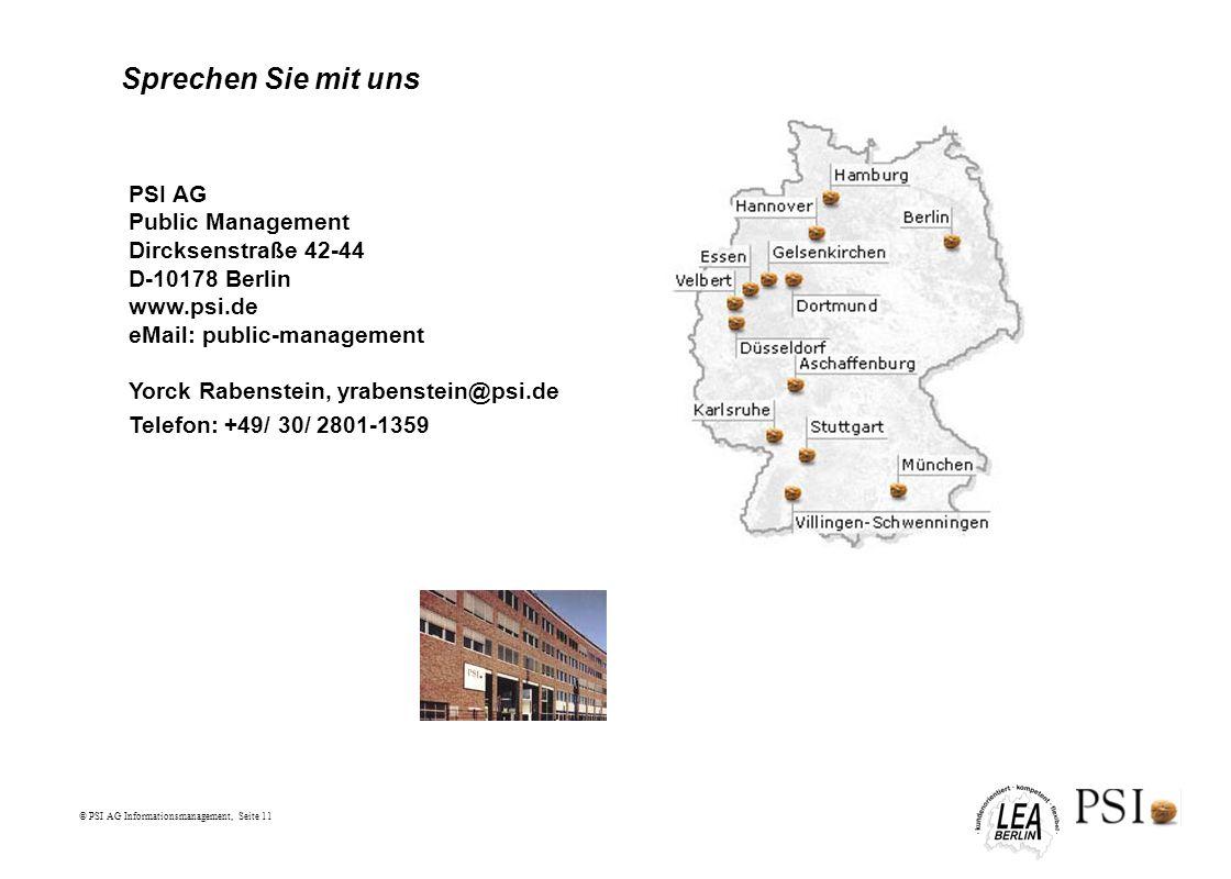Sprechen Sie mit uns PSI AG Public Management Dircksenstraße 42-44