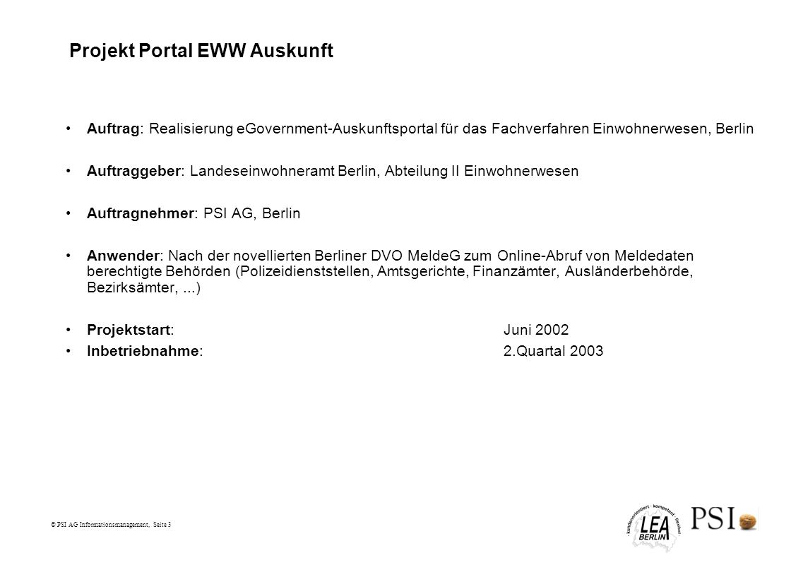 Projekt Portal EWW Auskunft