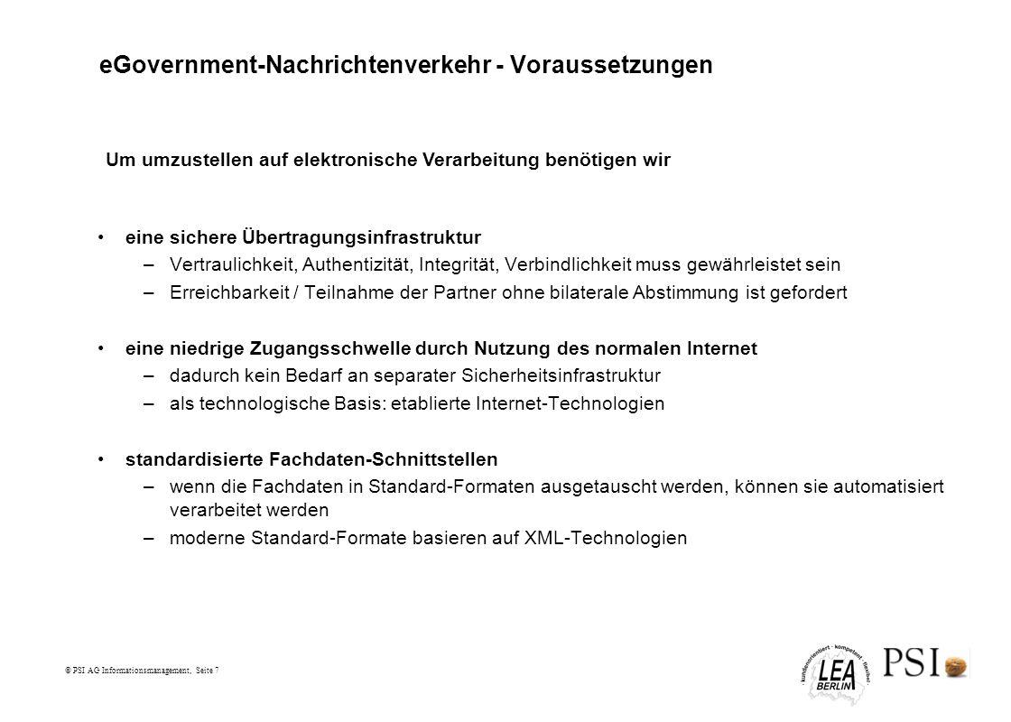 eGovernment-Nachrichtenverkehr - Voraussetzungen