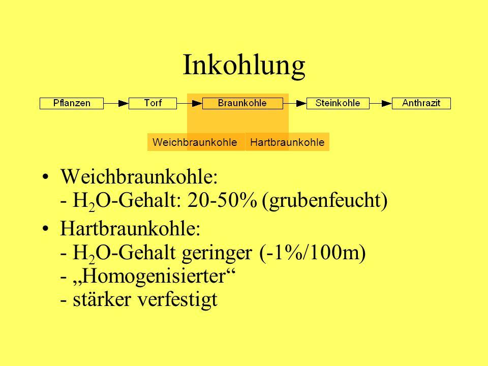 Inkohlung Weichbraunkohle: - H2O-Gehalt: 20-50% (grubenfeucht)