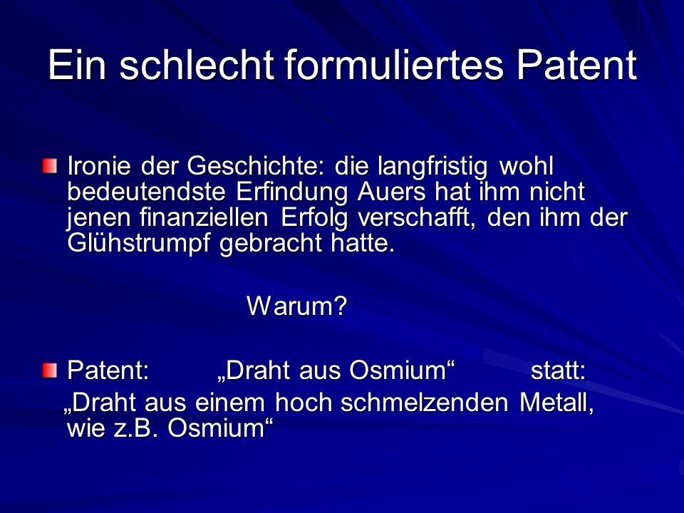 Ein schlecht formuliertes Patent