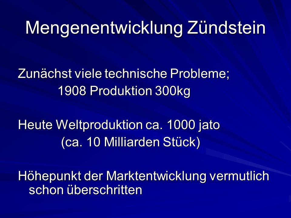 Mengenentwicklung Zündstein