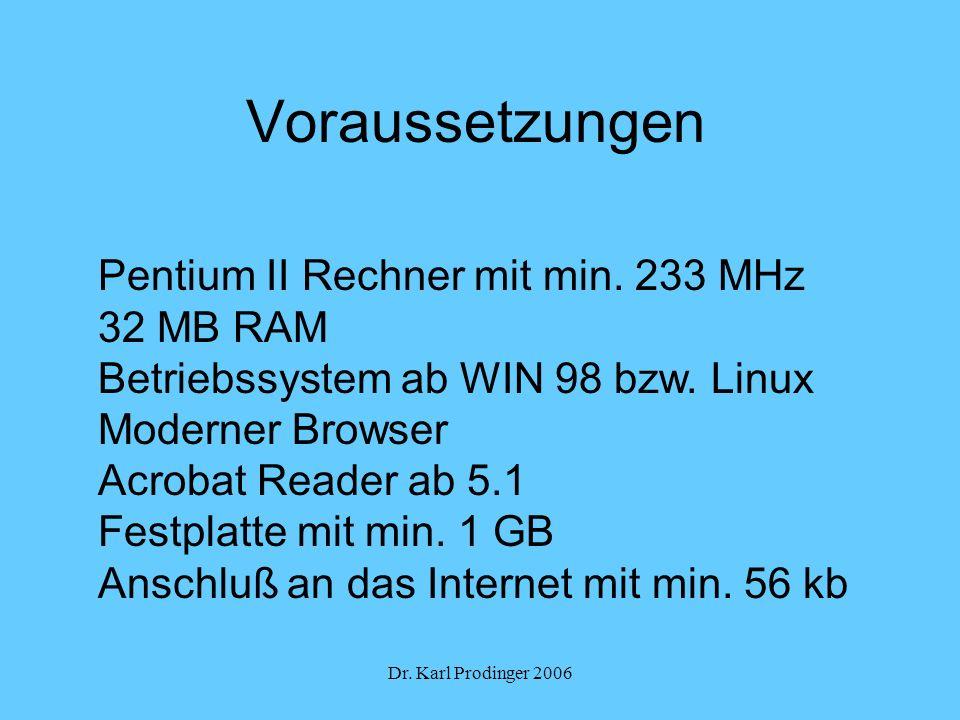Voraussetzungen Pentium II Rechner mit min. 233 MHz 32 MB RAM
