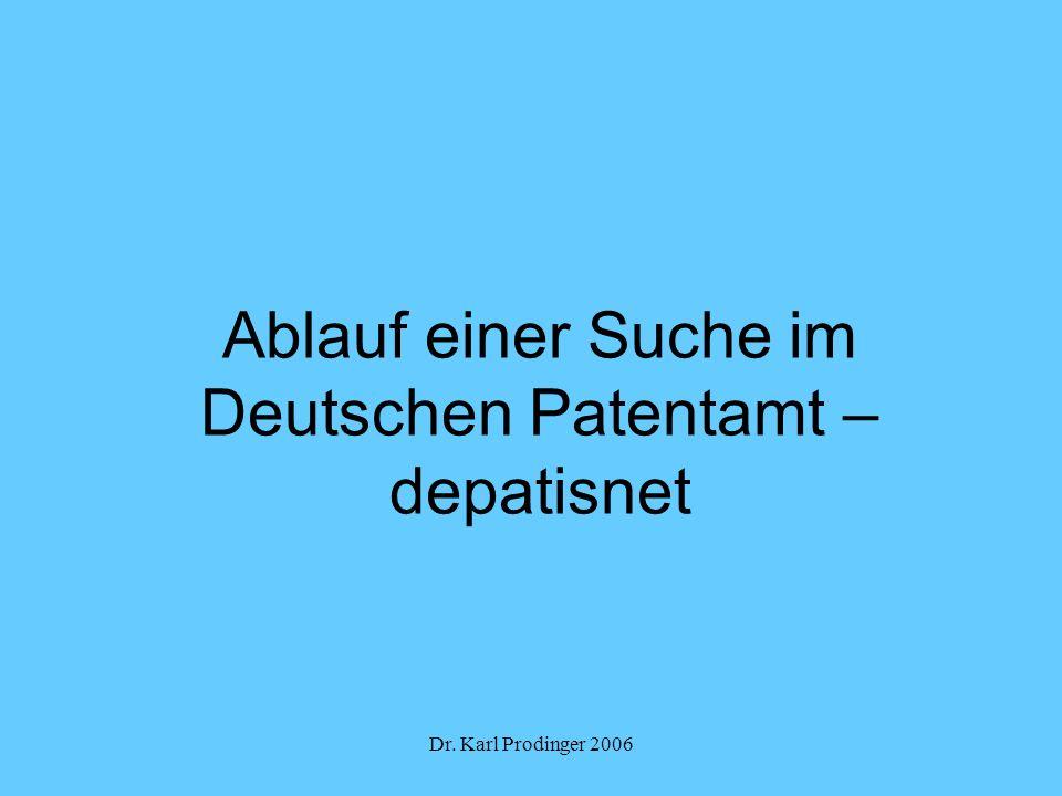 Ablauf einer Suche im Deutschen Patentamt – depatisnet