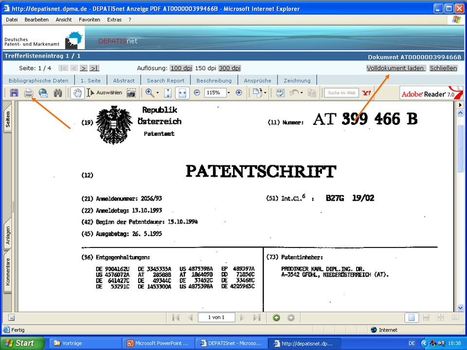 Faksimile d. Patents Dr. Karl Prodinger 2006