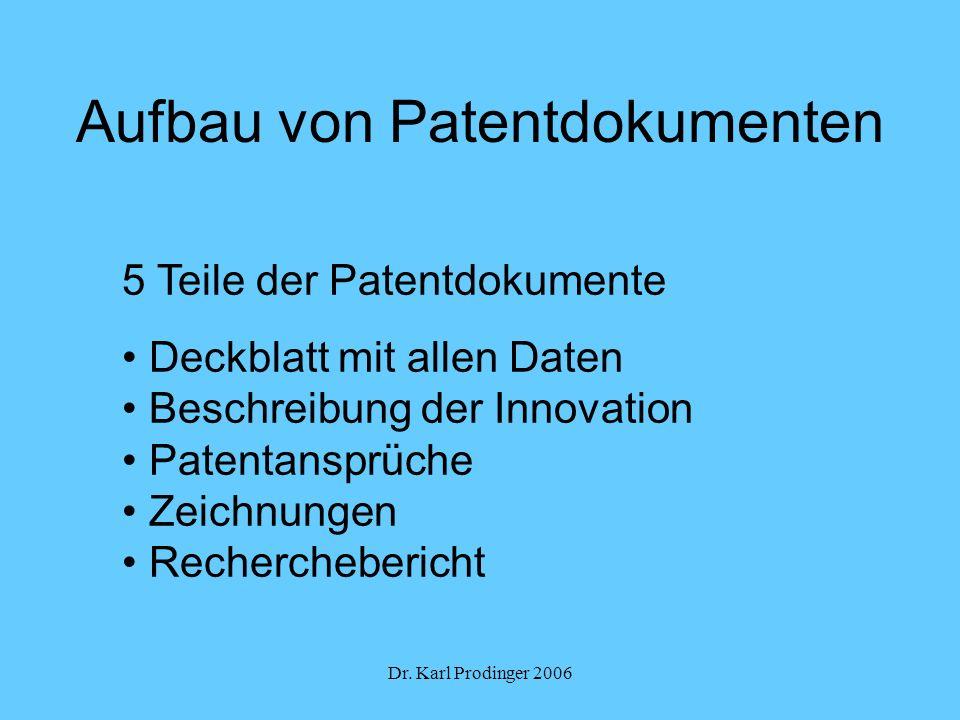 Aufbau von Patentdokumenten