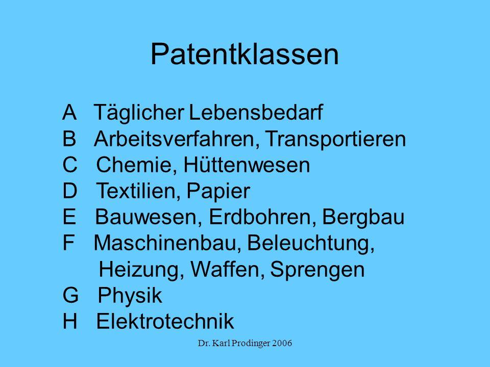 Patentklassen A Täglicher Lebensbedarf