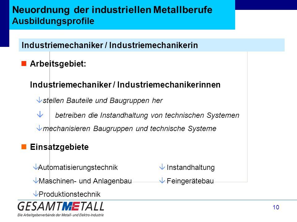 Neuordnung der industriellen Metallberufe Ausbildungsprofile