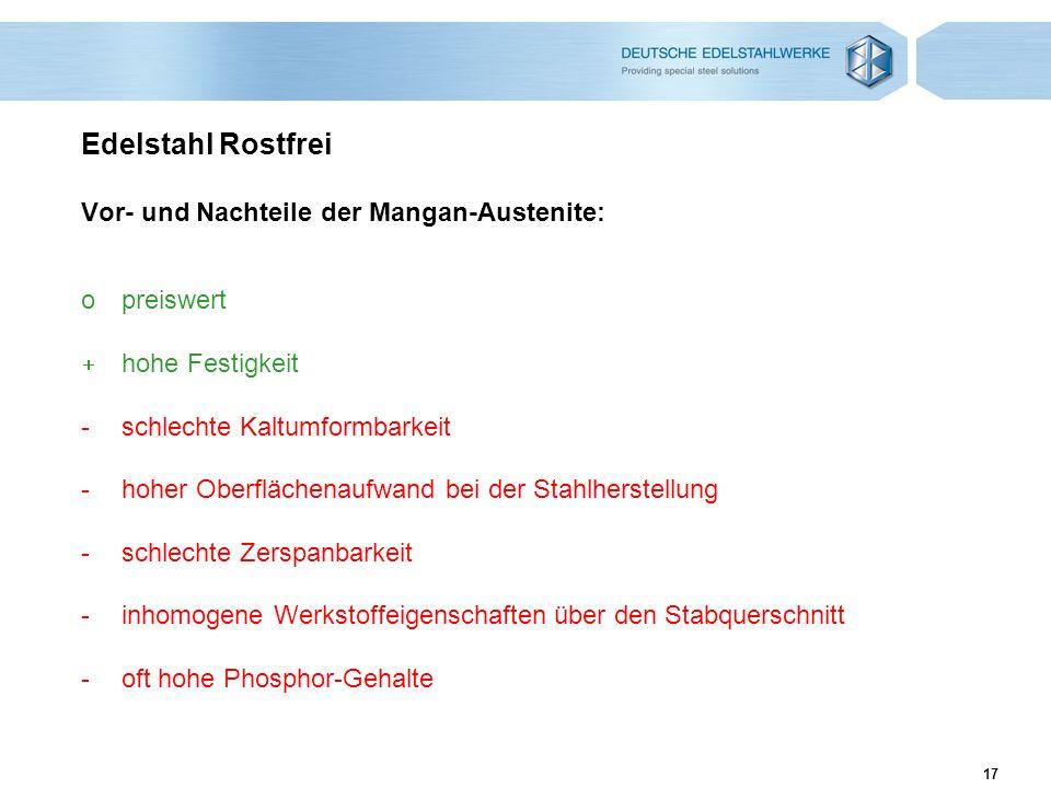 Edelstahl Rostfrei Vor- und Nachteile der Mangan-Austenite: