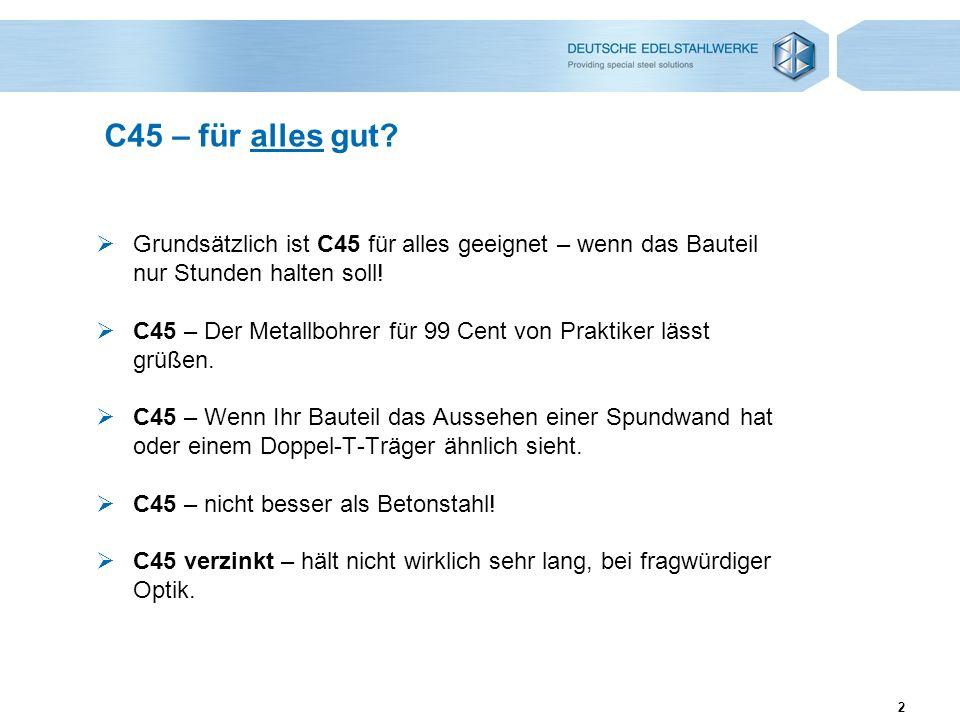C45 – für alles gut Grundsätzlich ist C45 für alles geeignet – wenn das Bauteil nur Stunden halten soll!
