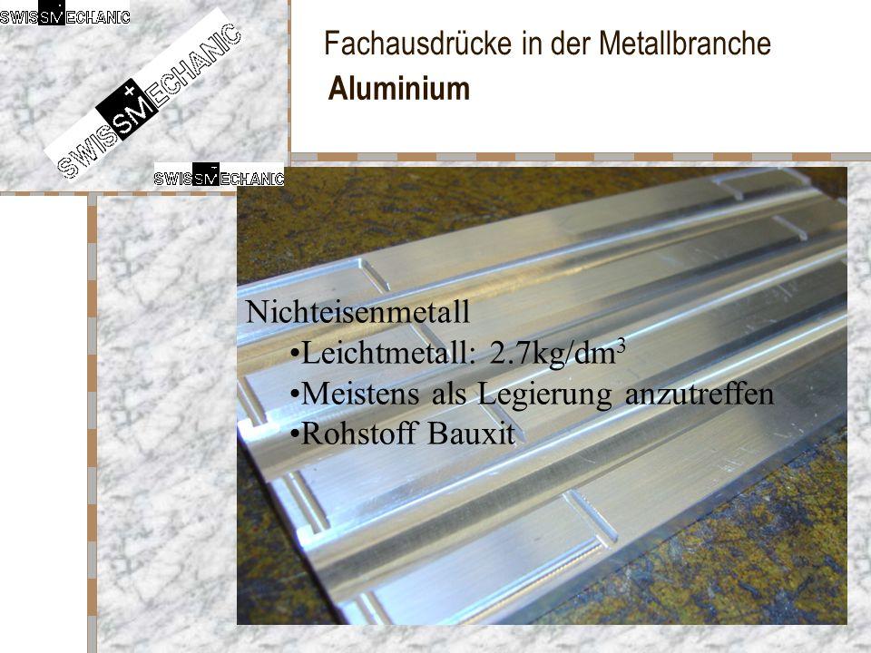Aluminium Nichteisenmetall. Leichtmetall: 2.7kg/dm3.