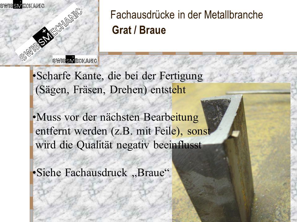 Grat / Braue Scharfe Kante, die bei der Fertigung (Sägen, Fräsen, Drehen) entsteht.