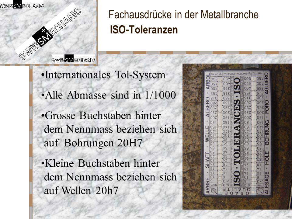 ISO-Toleranzen Internationales Tol-System. Alle Abmasse sind in 1/1000. Grosse Buchstaben hinter dem Nennmass beziehen sich auf Bohrungen 20H7.