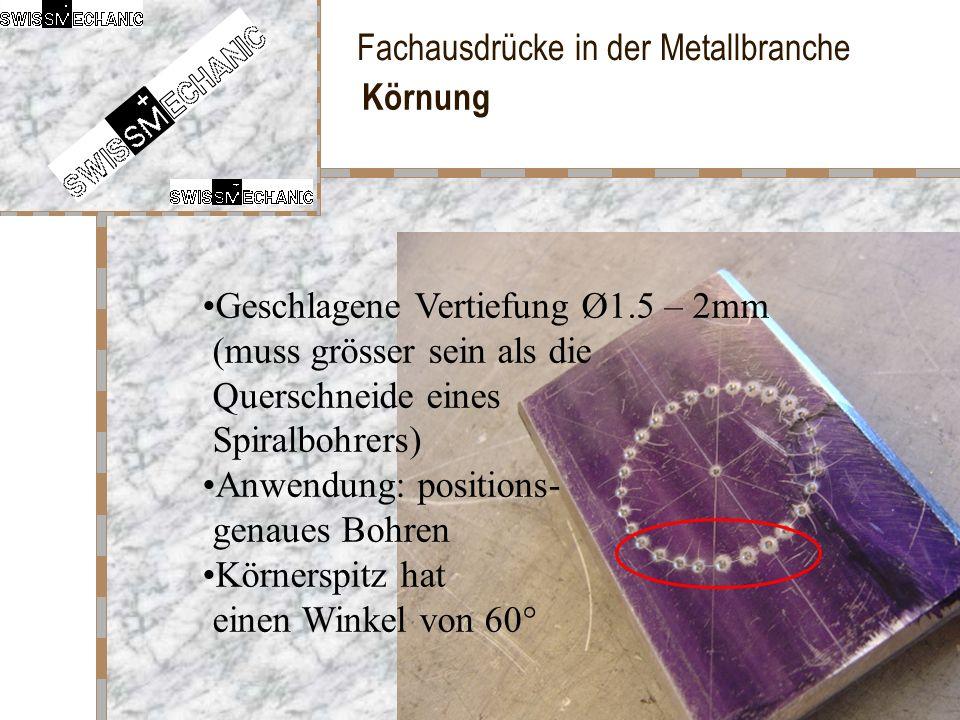 Körnung Geschlagene Vertiefung Ø1.5 – 2mm (muss grösser sein als die Querschneide eines Spiralbohrers)