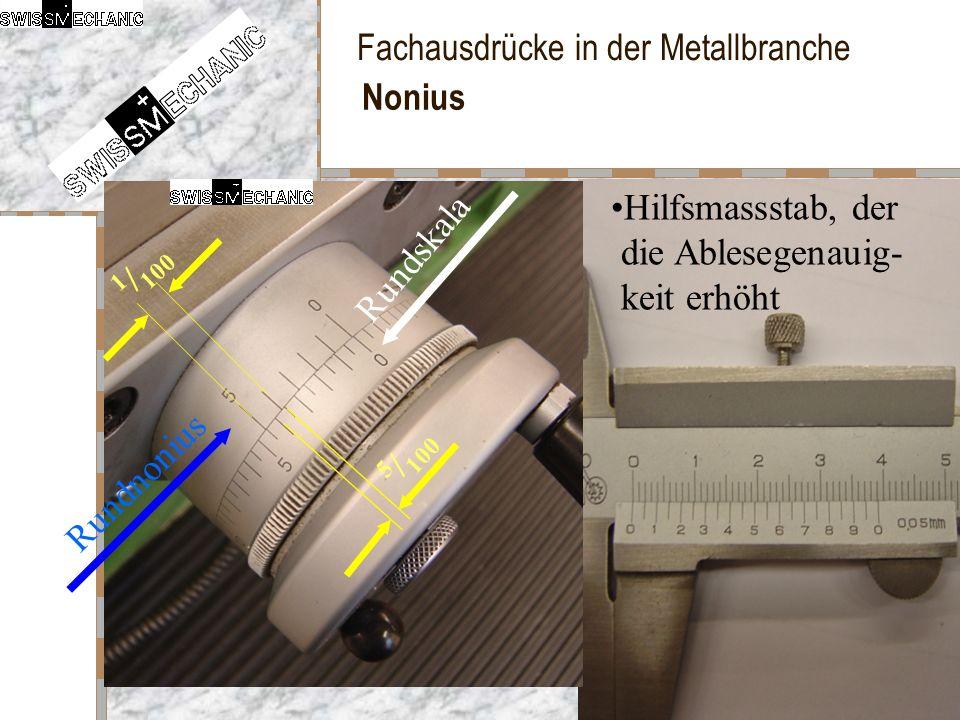 Nonius Hilfsmassstab, der die Ablesegenauig- keit erhöht Rundskala 1/100 5/100 Rundnonius