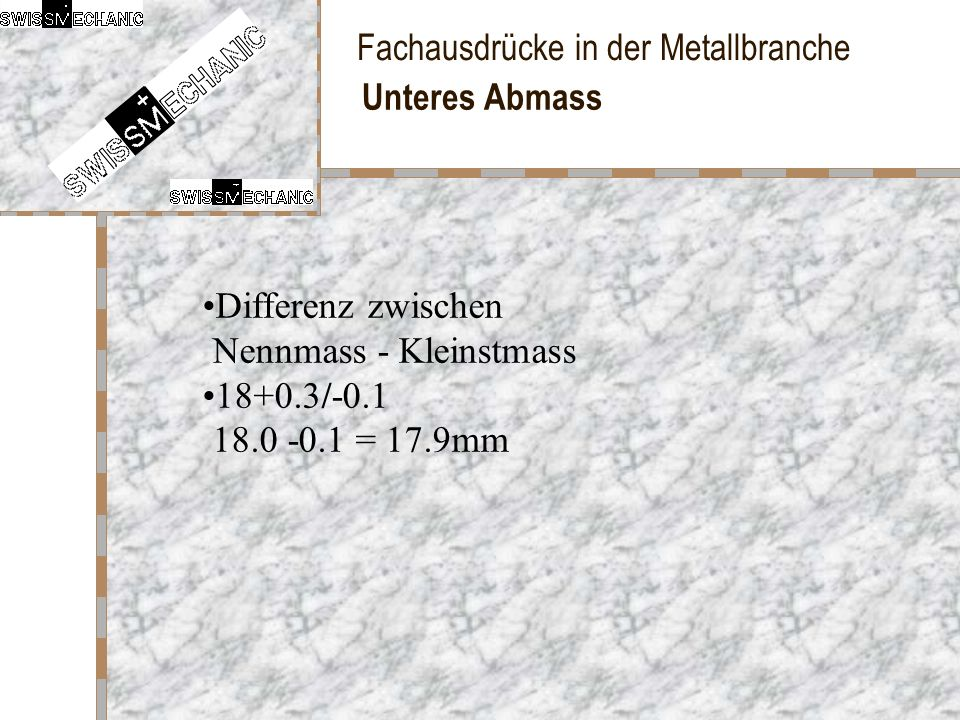Unteres Abmass Differenz zwischen Nennmass - Kleinstmass 18+0.3/-0.1 18.0 -0.1 = 17.9mm