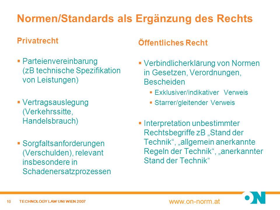 Normen/Standards als Ergänzung des Rechts