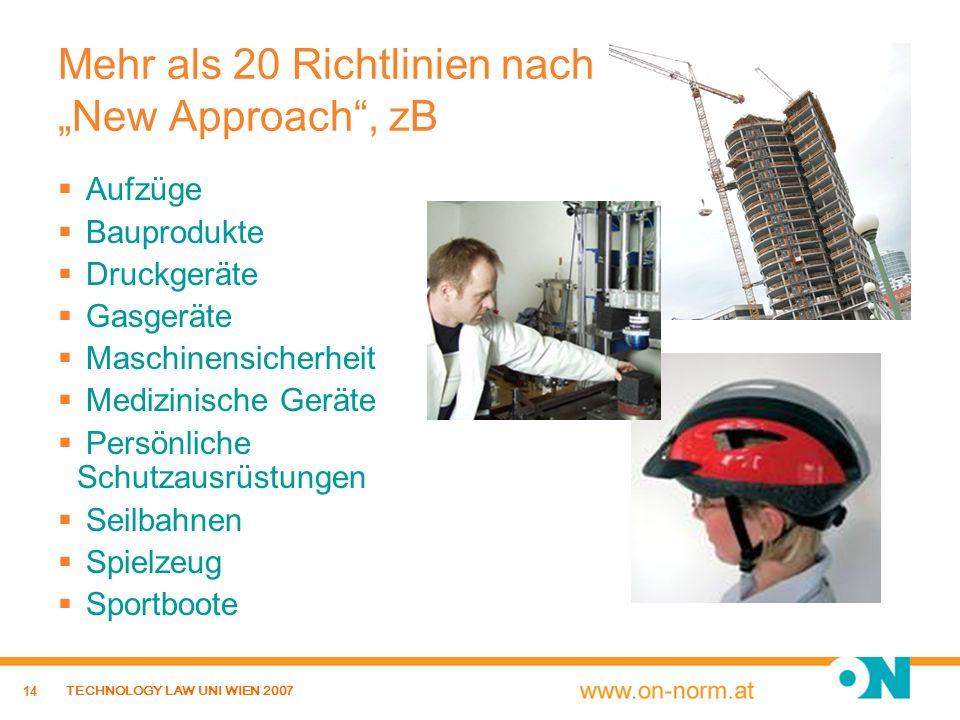 """Mehr als 20 Richtlinien nach """"New Approach , zB"""