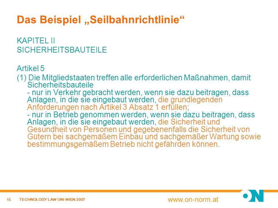 """Das Beispiel """"Seilbahnrichtlinie"""