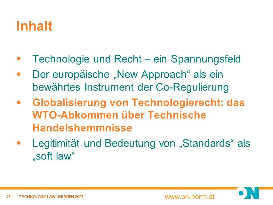 Inhalt Technologie und Recht – ein Spannungsfeld