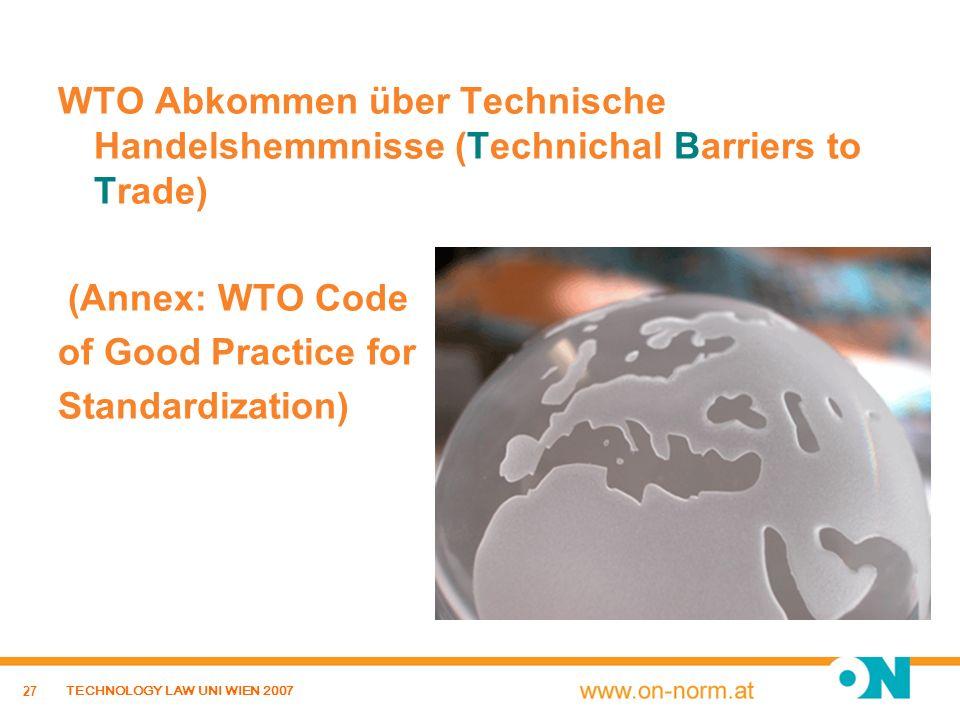 WTO Abkommen über Technische Handelshemmnisse (Technichal Barriers to Trade)