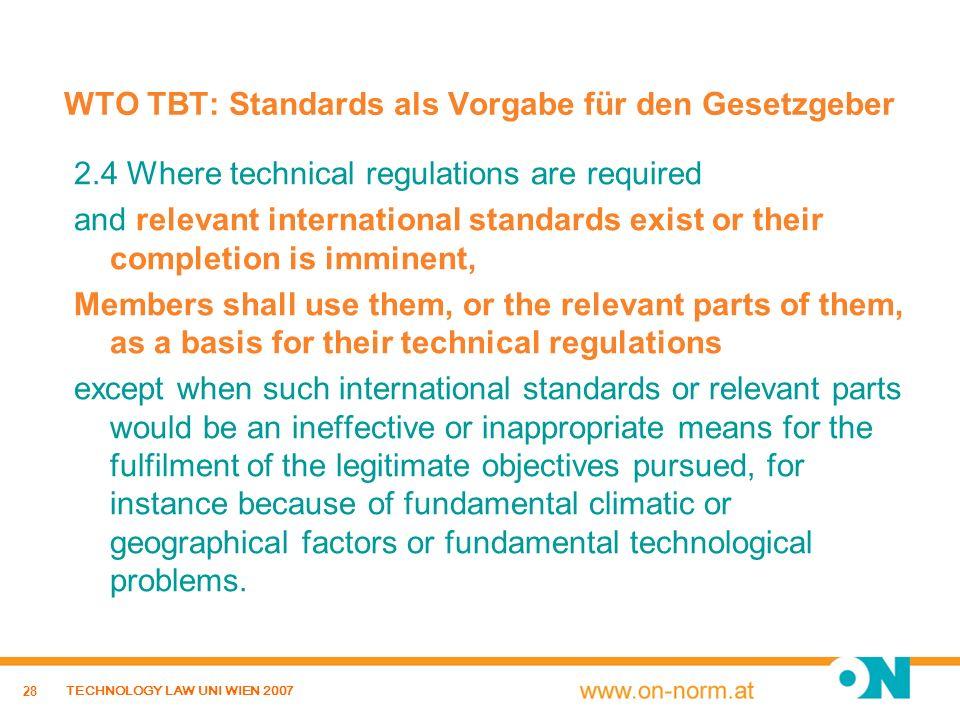 WTO TBT: Standards als Vorgabe für den Gesetzgeber