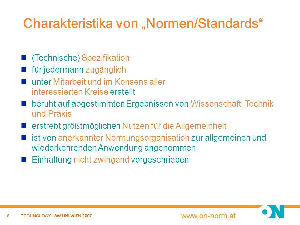 """Charakteristika von """"Normen/Standards"""