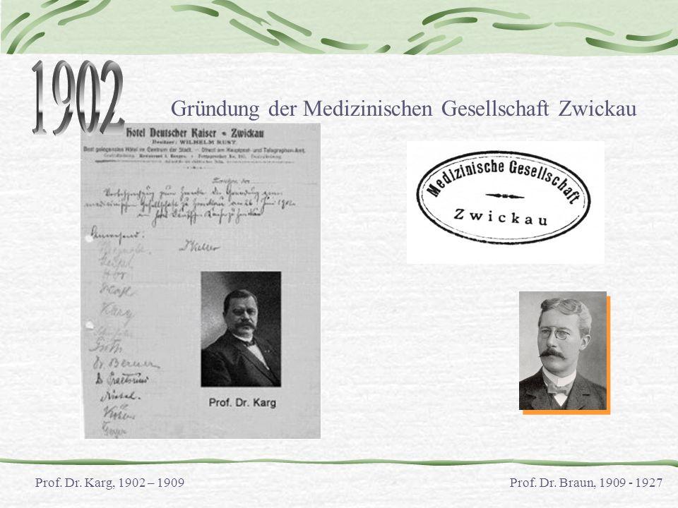 1902 Gründung der Medizinischen Gesellschaft Zwickau