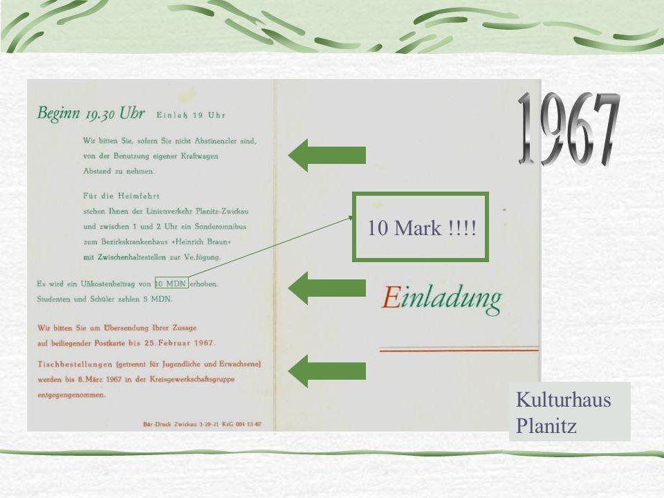 1967 10 Mark !!!! Kulturhaus Planitz
