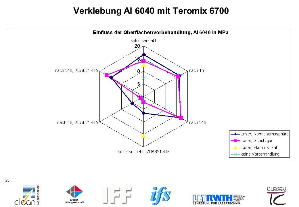 Verklebung Al 6040 mit Teromix 6700