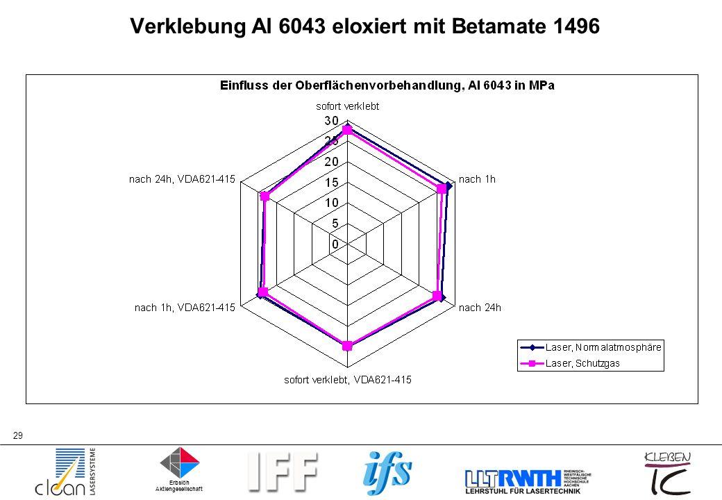 Verklebung Al 6043 eloxiert mit Betamate 1496