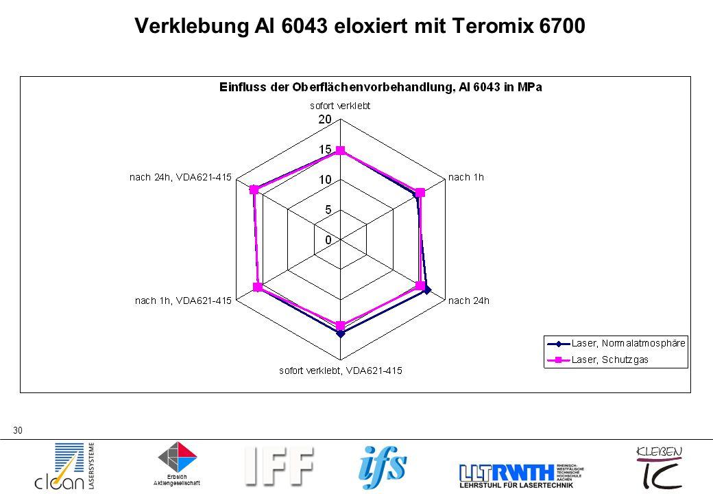 Verklebung Al 6043 eloxiert mit Teromix 6700