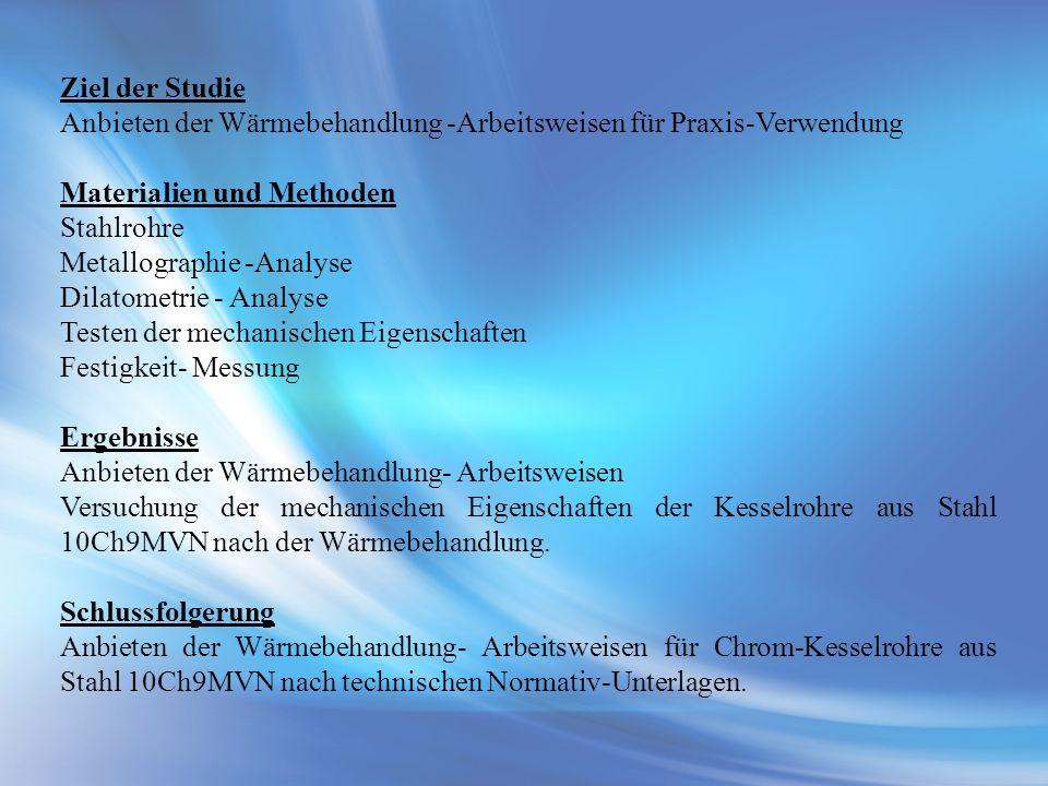 Ziel der Studie Anbieten der Wärmebehandlung -Arbeitsweisen für Praxis-Verwendung. Materialien und Methoden.