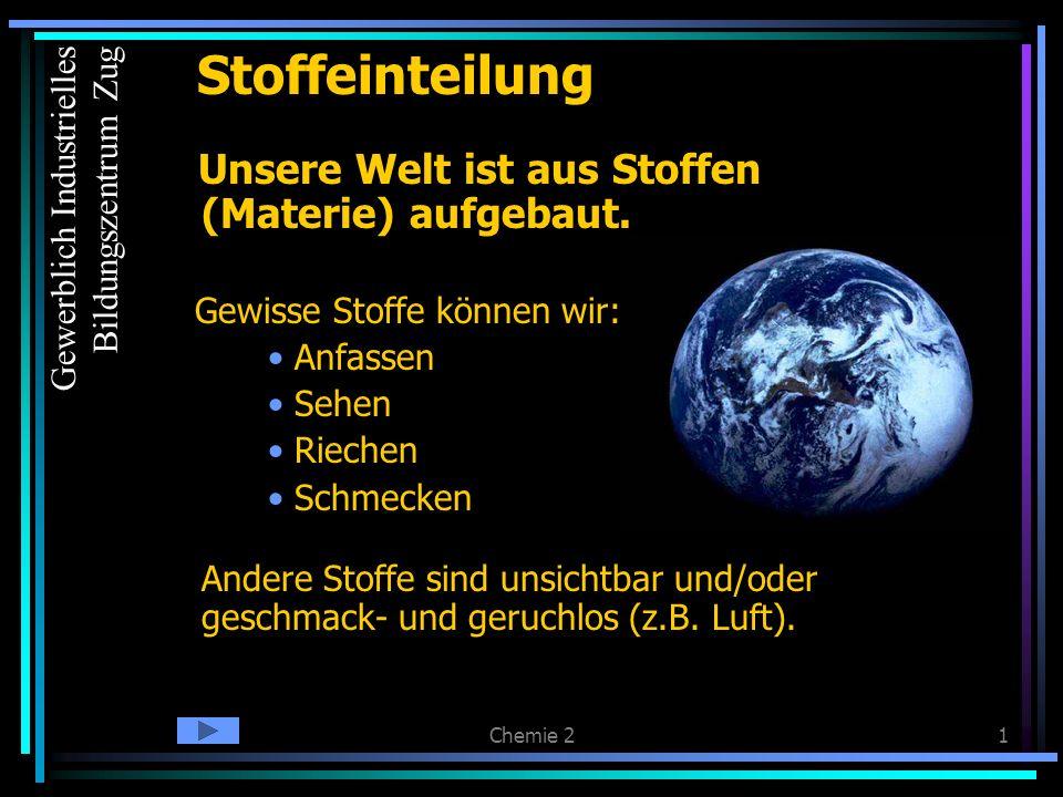 Stoffeinteilung Unsere Welt ist aus Stoffen (Materie) aufgebaut.