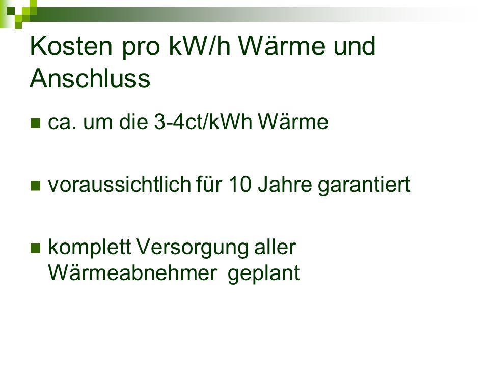 Kosten pro kW/h Wärme und Anschluss