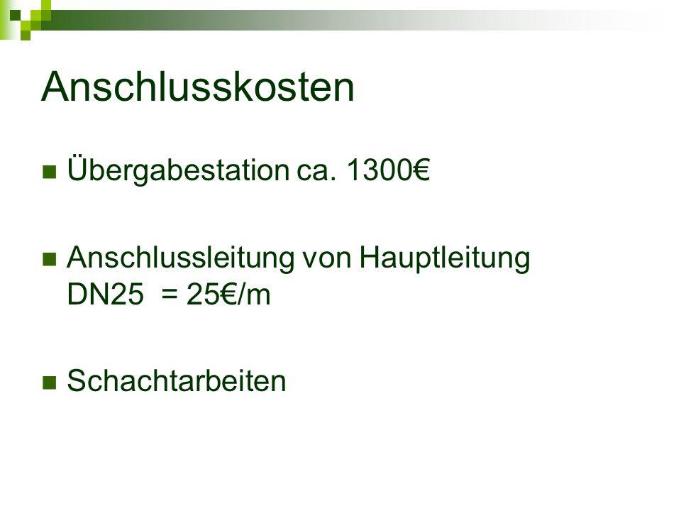 Anschlusskosten Übergabestation ca. 1300€