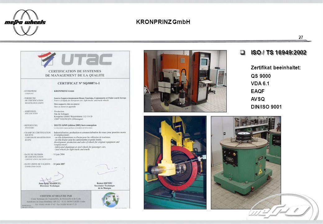 KRONPRINZ GmbH ISO / TS 16949:2002 Zertifikat beeinhaltet: QS 9000