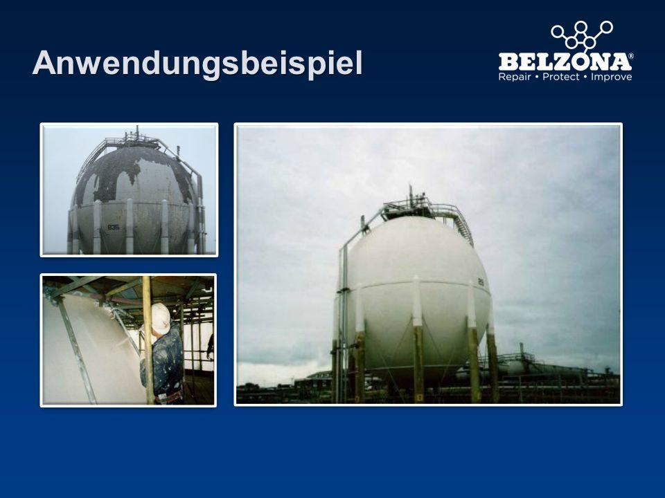 Anwendungsbeispiel Kunde: Chevron-Ölraffinerie in South Wales, GB. Aufgrund des Erfolgs der ersten Anwendung wurden weitere LNG-Tanks beschichtet.