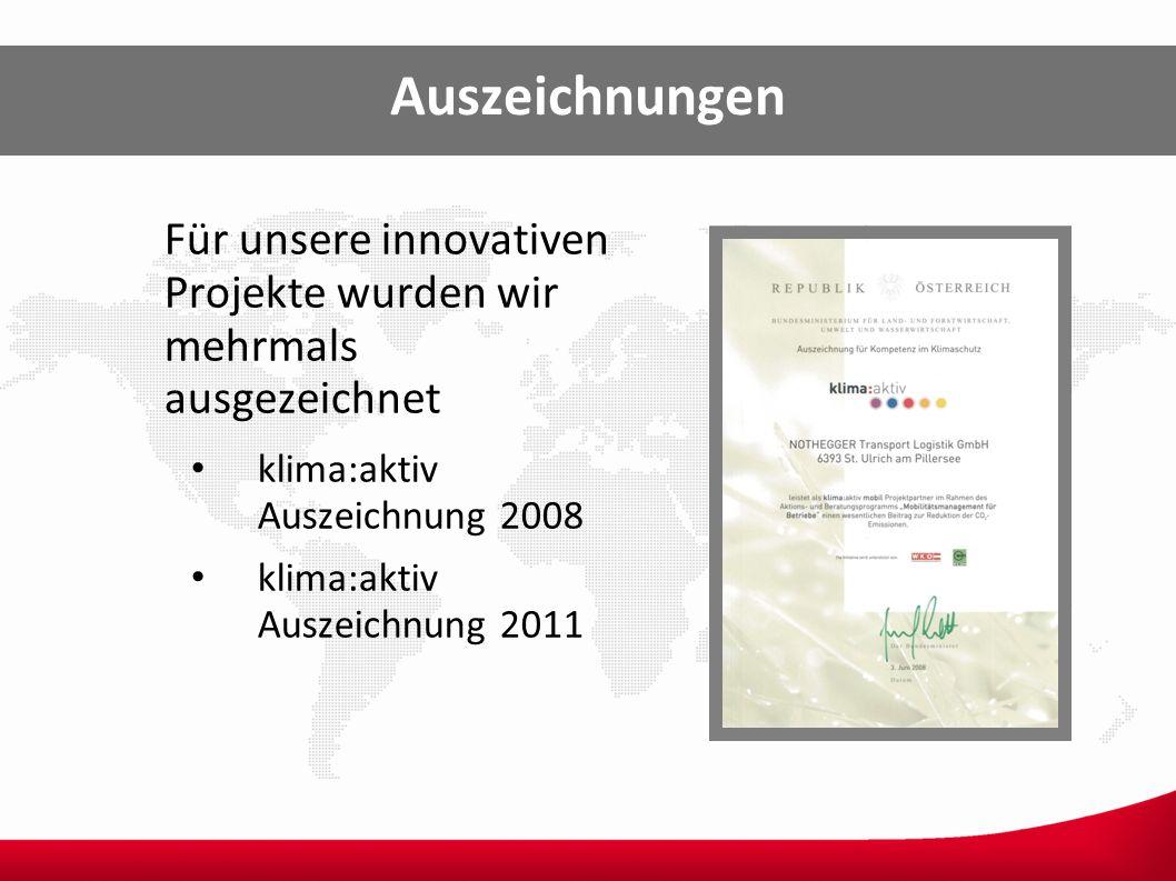 Auszeichnungen Für unsere innovativen Projekte wurden wir mehrmals ausgezeichnet. klima:aktiv Auszeichnung 2008.