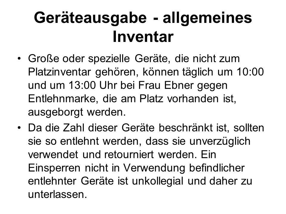 Geräteausgabe - allgemeines Inventar