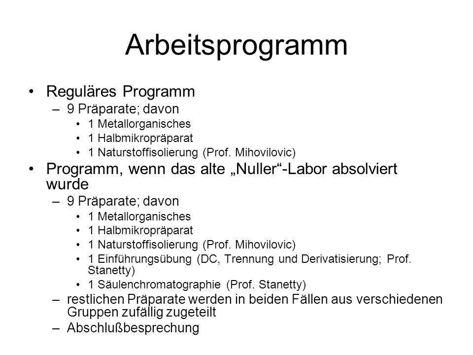 Arbeitsprogramm Reguläres Programm