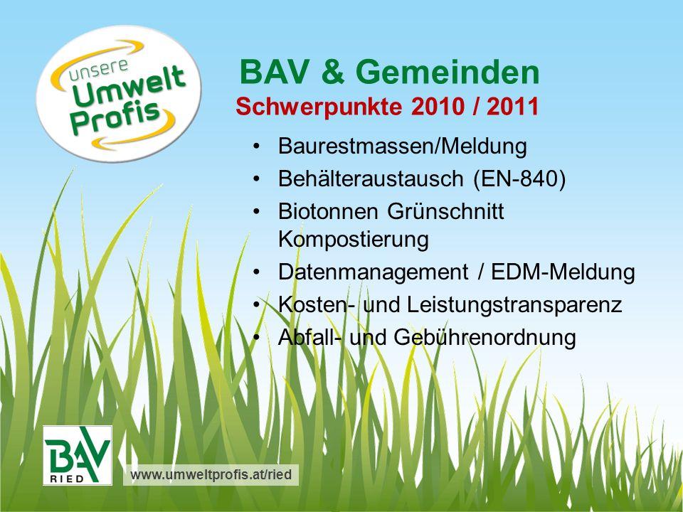 BAV & Gemeinden Schwerpunkte 2010 / 2011